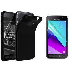Silikonski etui, črn +zaščitna folija zaslona za Samsung Galaxy Xcover 4