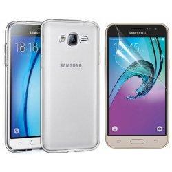 Silikonski etui, prozoren +zaščitna folija zaslona za Samsung Galaxy J3 2016