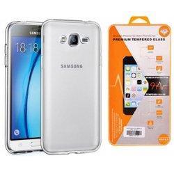 Silikonski etui, prozoren+ zaščitno steklo za Samsung Galaxy J3 2016