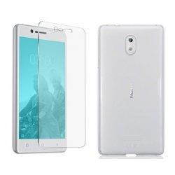 Silikonski etui, prozoren+ zaščitno steklo za Nokia 3