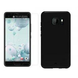 Silikonski etui, črn+ zaščitno steklo za HTC U Ultra