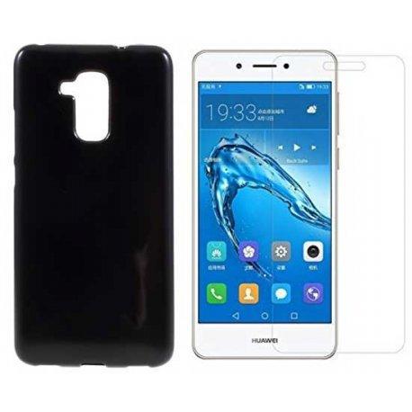 """Silikonski etui """"Jelly"""" črn + zaščitno steklo za Huawei Nova Smart"""