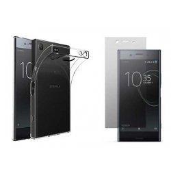 Silikonski etui, prozoren+ zaščitno steklo za Sony Xperia XZ1