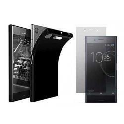 Silikonski etui, črn+ zaščitno steklo za Sony Xperia XZ1