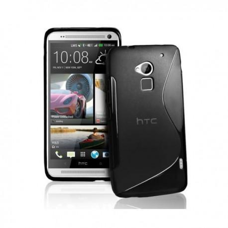 Silikon Etui za HTC One Max + folija ekrana, črna barva