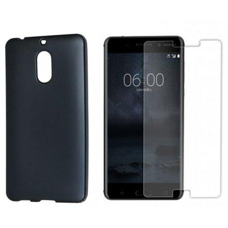 "Silikonski etui ""Jelly"" črn +zaščitno steklo za Nokia 6"