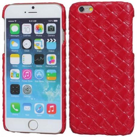 Zadnjipokrovček za Apple iPhone 6 Plus, pleteno umetno usnje rdeče barve