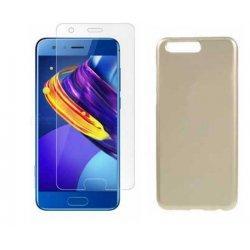 """Silikonski etui """"Jelly"""" zlat +zaščitno steklo za Huawei Honor 9"""