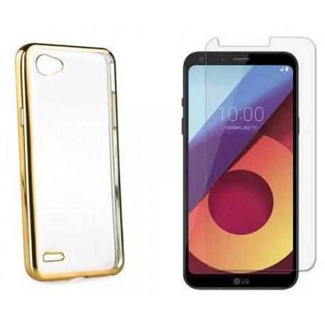 """Silikonski etui """"Electro Jelly"""" zlat +zaščitno steklo za LG Q6"""