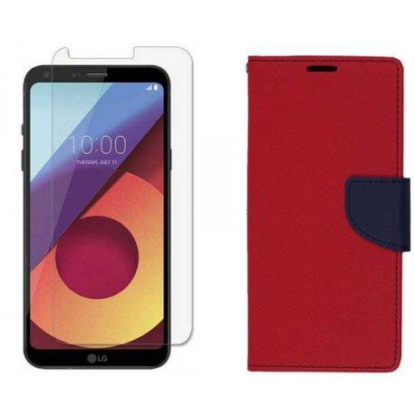 """Etui """"Fancy"""" + zaščitno steklo za LG Q6, Rdeča barva"""
