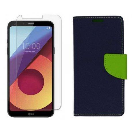 """Etui """"Fancy"""" + zaščitno steklo za LG Q6, Modra barva"""