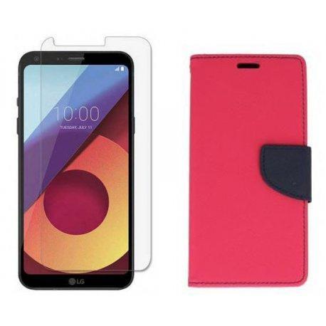 """Etui """"Fancy"""" + zaščitno steklo za LG Q6, Pink barva"""