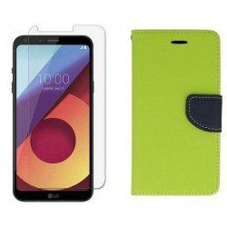 """Etui """"Fancy"""" + zaščitno steklo za LG Q6, Zelena barva"""