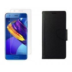 """Etui """"Fancy"""" + zaščitno steklo za Huawei Honor 9, Črna barva"""