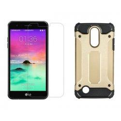 """Etui """"Armor"""" +zaščitno steklo za LG K10 2017, zlata barva"""