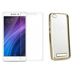 "Etui ""Electro Jelly"" zlat +zaščitno steklo za Xiaomi Redmi 4A"
