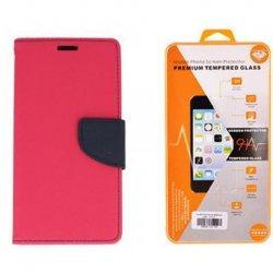 """Etui """"Fancy"""" + zaščitno steklo za LG K10 2017, Pink barva"""