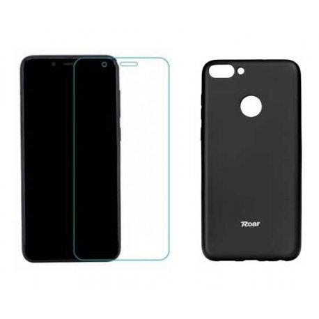 Silikonski etui Roar, črna+ zaščitno steklo za Huawei P Smart