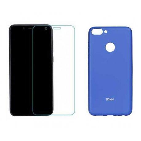 Silikonski etui Roar, modra+ zaščitno steklo za Huawei P Smart