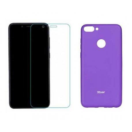 Silikonski etui Roar, vijola+ zaščitno steklo za Huawei P Smart
