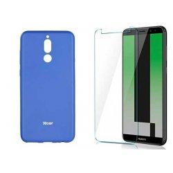 Silikonski etui Roar, modra+ zaščitno steklo za Huawei Mate 10 Lite