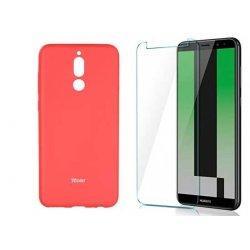 Silikonski etui Roar, pink+ zaščitno steklo za Huawei Mate 10 Lite