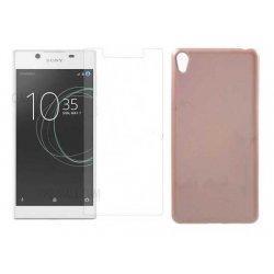 """Silikonski etui """"Jelly"""" zlat +zaščitno steklo za Sony Xperia L1"""