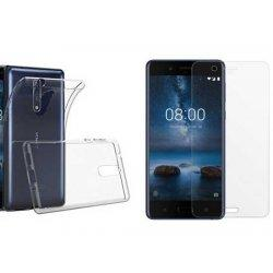 Silikonski etui, prozoren+ zaščitno steklo za Nokia 8