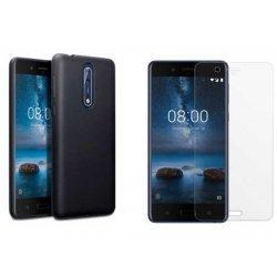 """Silikonski etui """"Jelly"""" črna +zaščitno steklo za Nokia 8"""