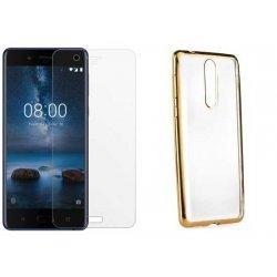 """Etui """"Electro Jelly"""" zlat +zaščitno steklo za Nokia 8"""