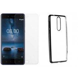 """Etui """"Electro Jelly"""" črn +zaščitno steklo za Nokia 8"""
