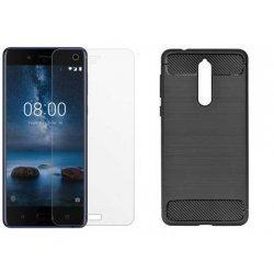 """Etui """"Carbon Case"""" +zaščitno steklo za Nokia 8"""