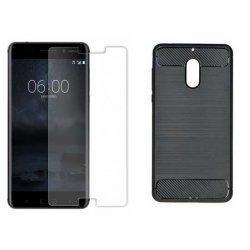 """Etui """"Carbon Case"""" +zaščitno steklo za Nokia 6"""