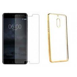 """Etui """"Electro Jelly"""" zlat +zaščitno steklo za Nokia 6"""