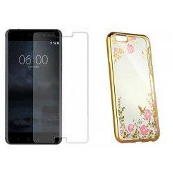 """Etui """"Diamond Case"""" zlat +zaščitno steklo za Nokia 6"""