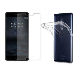 Silikonski etui, 0,5mm, prozoren+ zaščitno steklo za Nokia 5