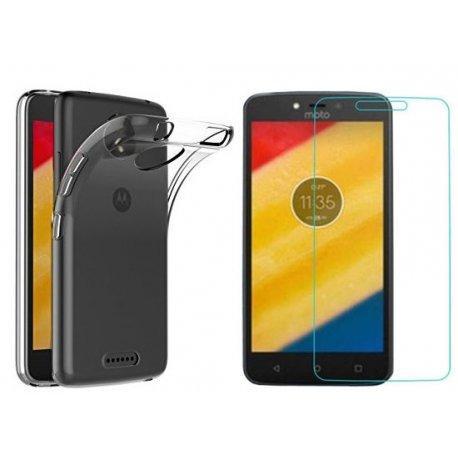 Silikonski etui, prozoren+ zaščitno steklo za Motorola Moto C