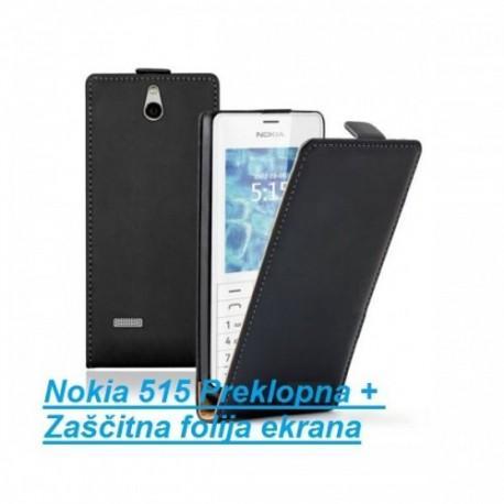Torbica za Nokia 515 Preklopna + Zaščitna folija ekrana ,Črna barva