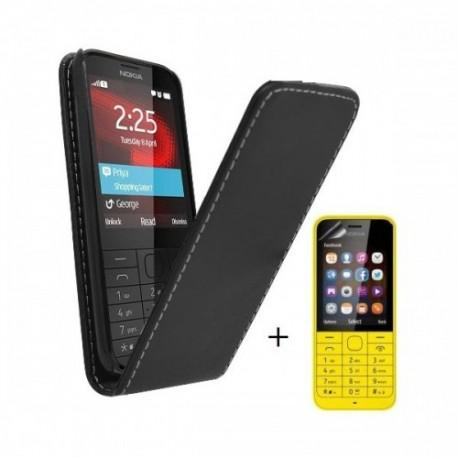 Preklopna Torbica za Nokia 225 + Zaščitna folija ekrana ,Črna barva