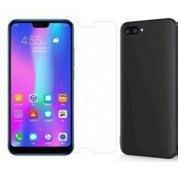 Silikonski etui, črn+ zaščitno steklo za Huawei Honor 10