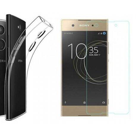 Silikonski etui, prozoren+ zaščitno steklo za Sony Xperia L2