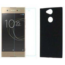 Silikonski etui, črn+ zaščitno steklo za Sony Xperia L2