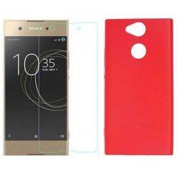 Silikonski etui, rdeč+ zaščitno steklo za Sony Xperia L2
