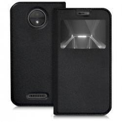 """Preklopna torbica """"window"""" za Motorola Moto C Plus, črna barva"""