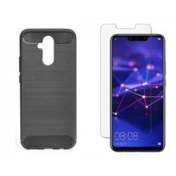 """Etui """"Carbon Case"""" črn +zaščitno steklo za Huawei Mate 20 Lite"""