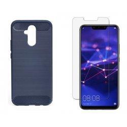"Etui ""Carbon Case"" siv +zaščitno steklo za Huawei Mate 20 Lite"