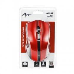 ART AM-97D brezžična miška v rdeči barvi
