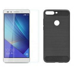 """Etui """"Carbon Case"""" +zaščitno steklo za Huawei Y7 Prime 2018"""