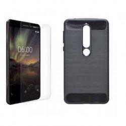 """Etui """"Carbon Case"""" +zaščitno steklo za Nokia 6 2018"""