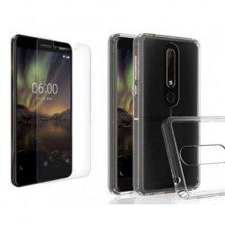 Silikonski etui, prozoren+ zaščitno steklo za Nokia 6 2018